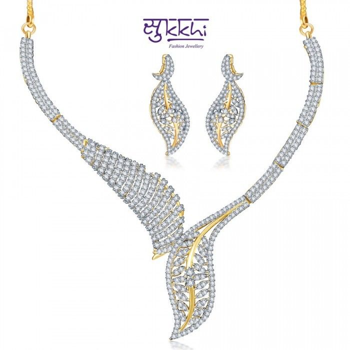 Stunning Leaf Style CZ Necklace Set | High5Store.com