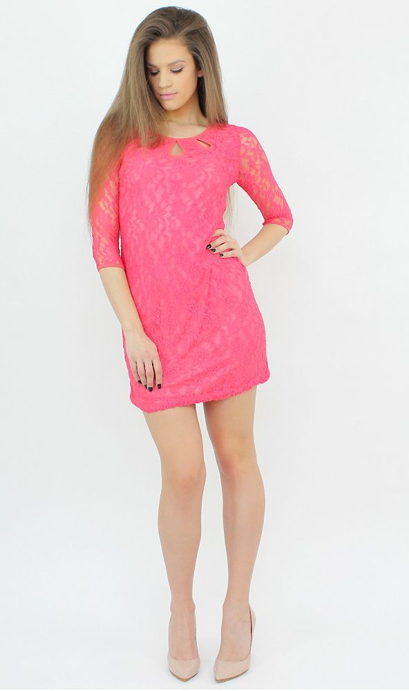 Pink Long-Sleeve Dress for a mesmerizing appearance..:)  #shopping #lace #dress #fashion #style