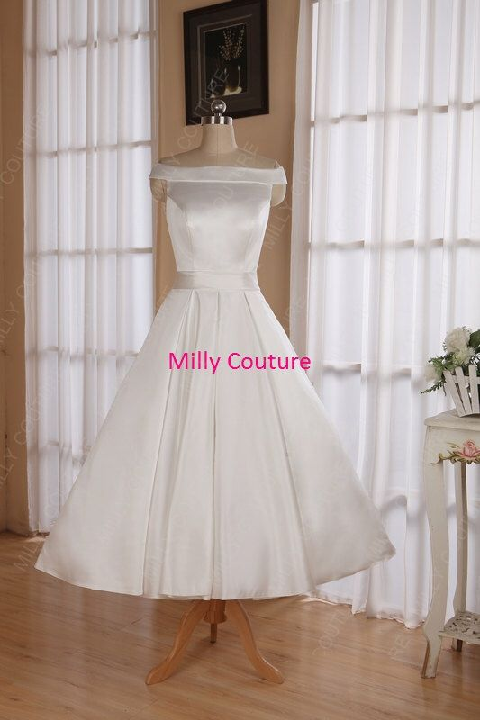 Off the shoulders tea length wedding dresses, rockabilly 50s retro style wedding dress, 1950 inspired wedding dress by MillyCouture on Etsy https://www.etsy.com/listing/182408049/off-the-shoulders-tea-length-wedding