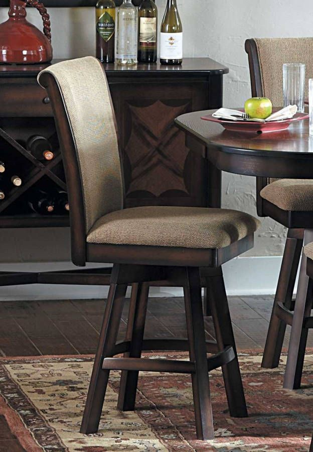 Counter Height Swivel Bar Stools Part - 20: 2 Westwood Burnish Oak Wood Fabric Swivel Counter Height Chairs