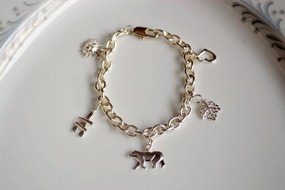 Sterling silver I love Canada charm bracelet maple by starrydreams