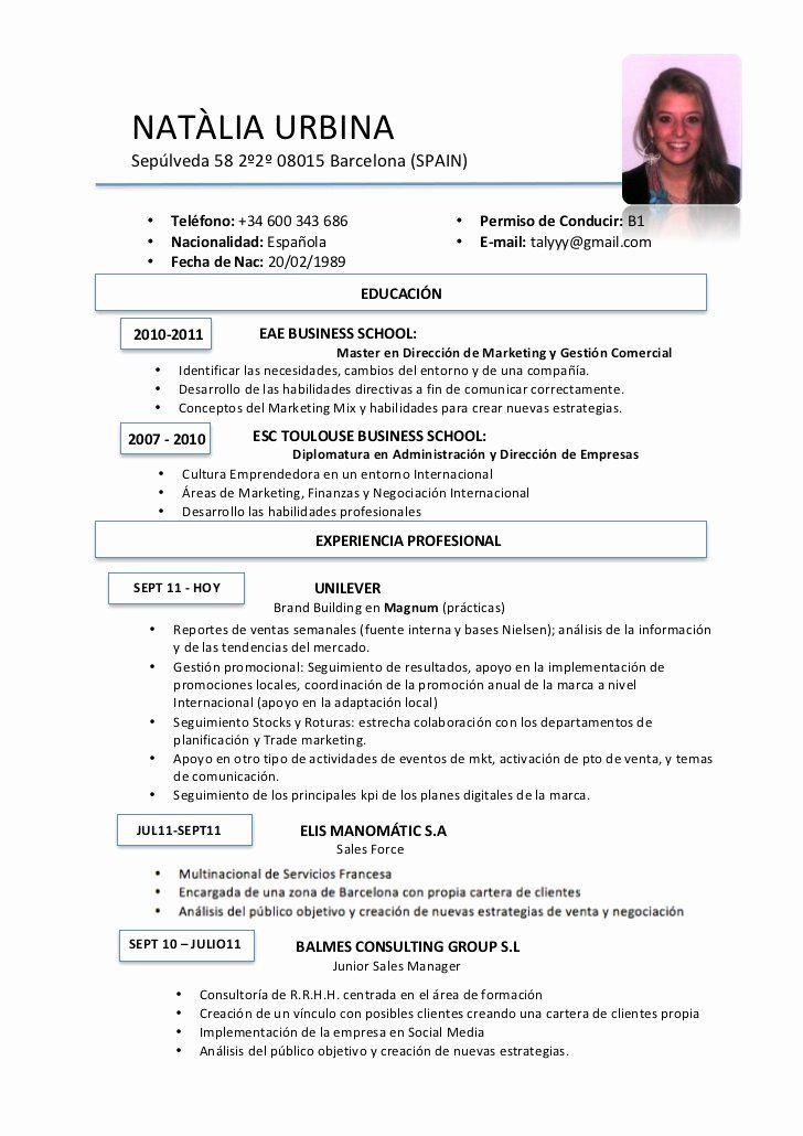 Resume In Spanish Example Beautiful Curriculum Vitae Curriculum Vitae In Spanish In 2020 Resume Template Examples Teacher Resume Examples Curriculum Vitae Examples