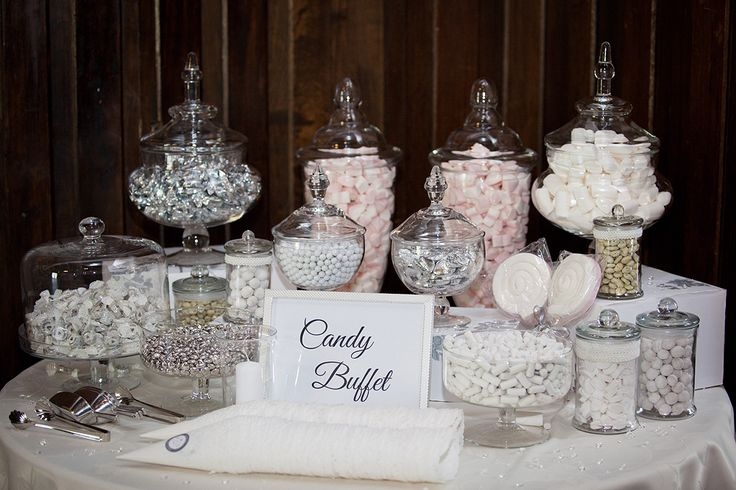 Wedding Candy Buffet Table Silver Grey And White