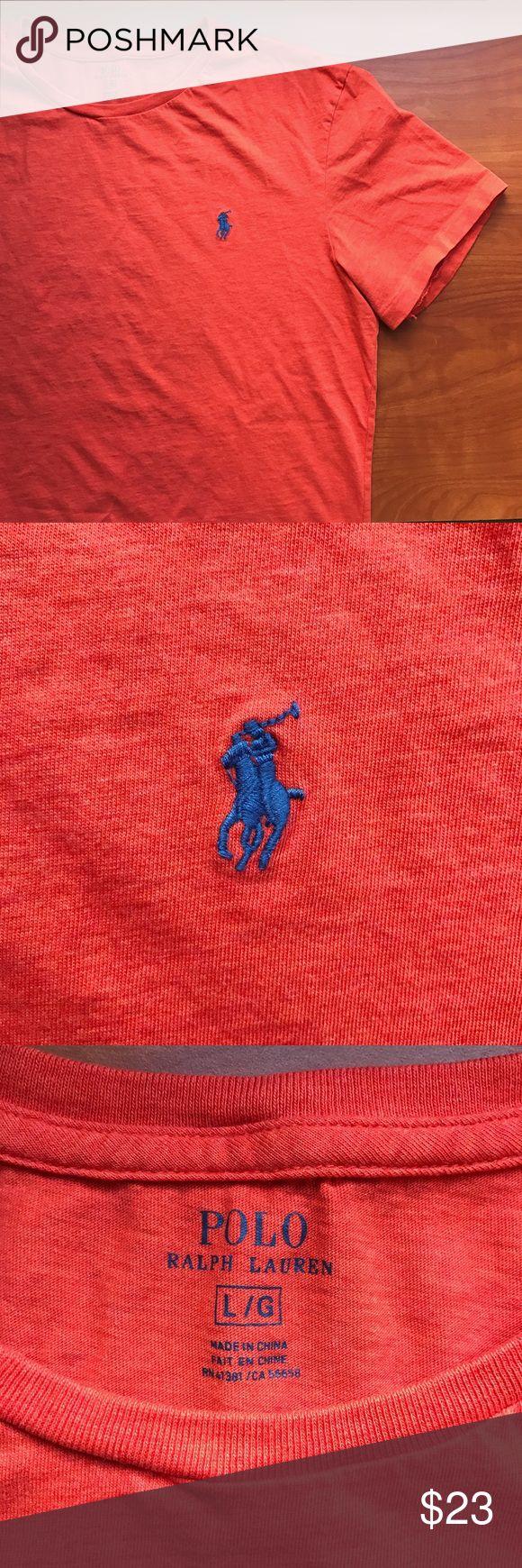 Orange Polo Tee Shirt Orange Polo Tee Shirt by Ralph Lauren. Blue logo. Men's size L. Excellent condition. Worn once. Polo by Ralph Lauren Shirts Tees - Short Sleeve