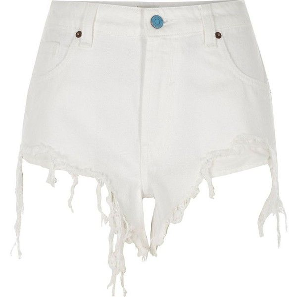 River Island White ripped high side denim shorts ($64) ❤ liked on Polyvore featuring shorts, denim shorts, white, women, zipper shorts, distressed jean shorts, jean shorts and destroyed shorts