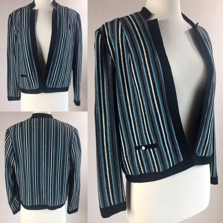 1950's Women's Blue Striped Knit Blazer Ricky Jacket by Susan Thomas | Size Small/Medium by VeraciousVintageCo on Etsy https://www.etsy.com/listing/523883377/1950s-womens-blue-striped-knit-blazer