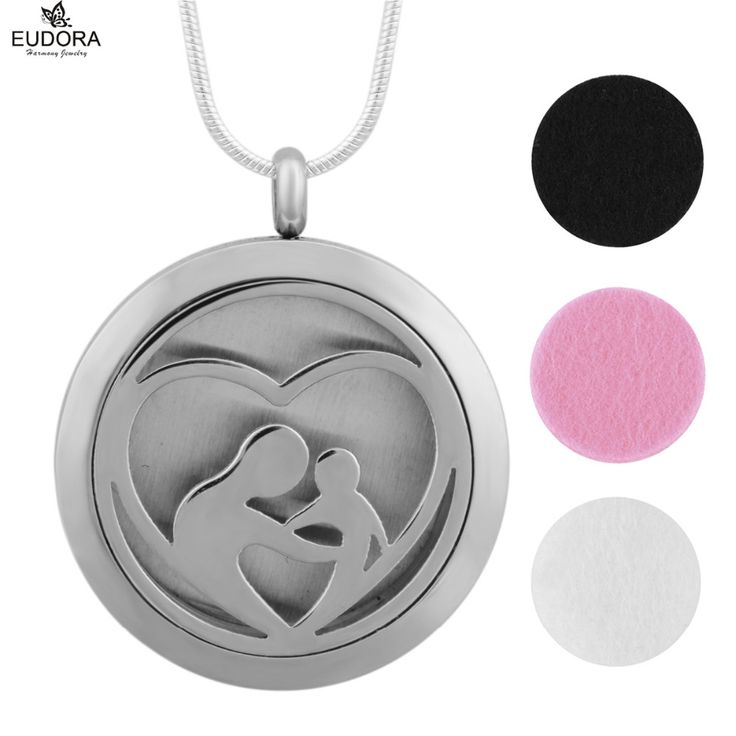 Mom Baby in Heart Round 30mm Stainless Steel Aromatherapy Cage Pendant Essential Oil Diffuser Locket Necklace Mother Gift