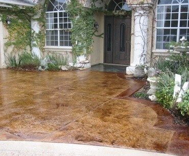 acid stained patio, instead of a deck