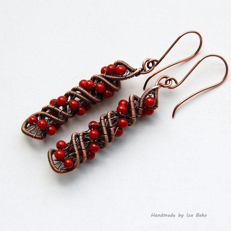 Copper and Coral Double Helix Earrings