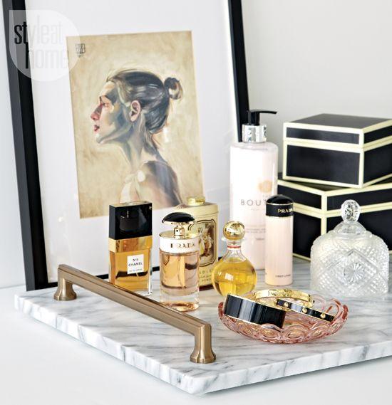 Contemporary chic vanity tray
