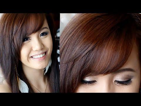How to Cut & Style Side Swept Bangs  i like the range of where her bangs fall