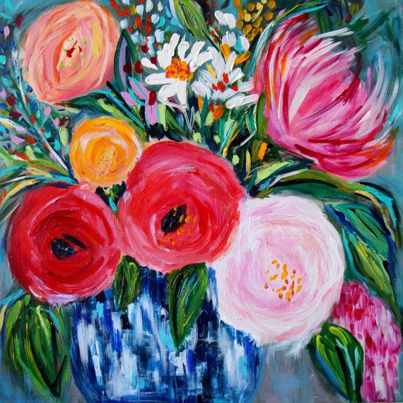 NEW Floral Still Life Flowers in Blue and by CarolynShultzFineArt