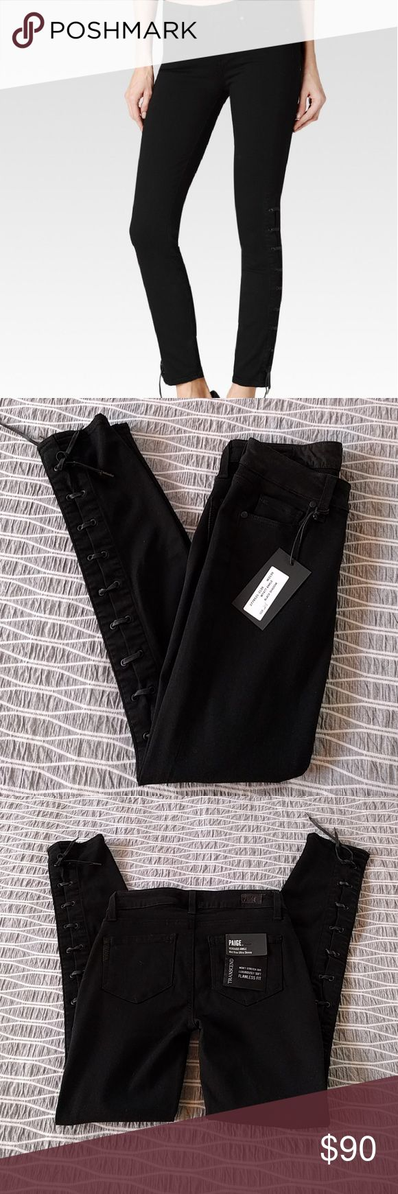 "NWT black skinny jeans - Paige NWT Paige Wyatt. Sadly these are too small for me.the Wyatt Ankle jean features our innovative, TRANSCEND fiber technology that promises a luxuriously soft feel, comfortable fit and unyielding support. Showcasing a romantic, lace-up detailing that gracefully stretches from the ankle to the high knee, this jean is designed with a slim fit and delicate charm. Mid rise and ankle length, this pant updates any outfit with a vintage beauty.""  Now on sale for $134…"