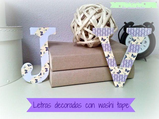 Letras de madera decoradas con washitape el rinc n de las cosas bonitas diy blog pinterest - Letras de corcho decoradas ...