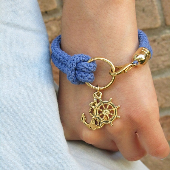 Nautical bracelet, crochet, rudder and anchor - made to order.  Would not be difficult to make