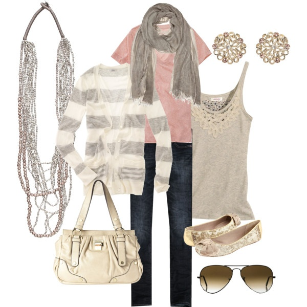 pink and gray, created by #bradierenee on #polyvore. #fashion #style #Madewell Abercrombie & Fitch