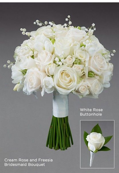 http://BookerWeddings.co.uk - Romantic White Rose and Lily of the Valley Bridal Bouquet Buttonhole Vera Wang