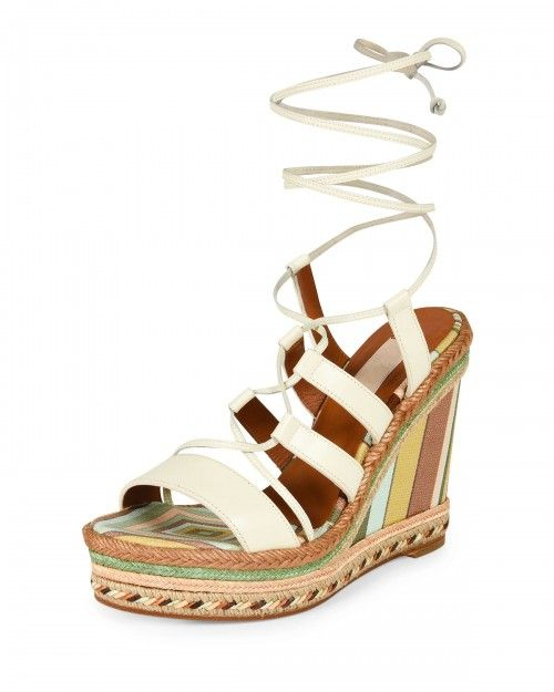 Valentino+Red+Leather+Lace+Up+Espadrille+Sandals+Ivory+Green+Tea+Women's+39+0b+9+0b+Ivory+Green+Tea