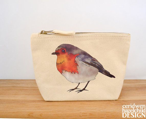 Robin Canvas Zip Purse Makeup Bag Coin Purse Small Accessory Pouch by ceridwenDESIGN http://ift.tt/1pLaapG