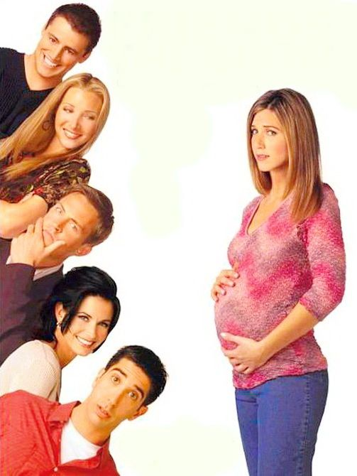 Friends - Pregnant Rachel and cast