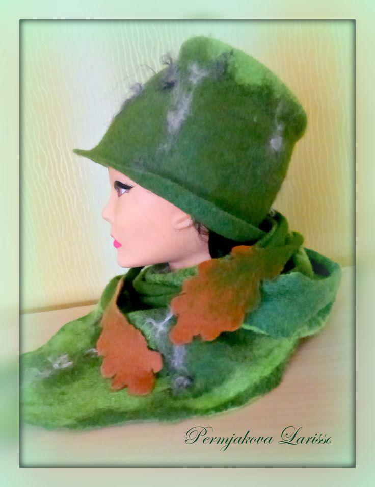 """Валяный комплект """"Дубрава"""" -шляпка и бактус декорированные флисом"""