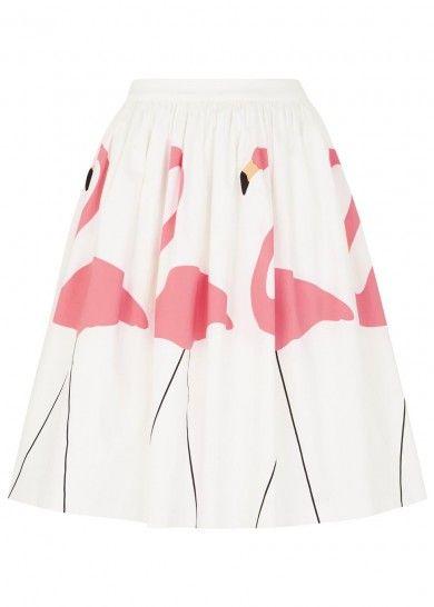 Alice & Olivia Hale flamingo print flared skirt at Harvey Nichols