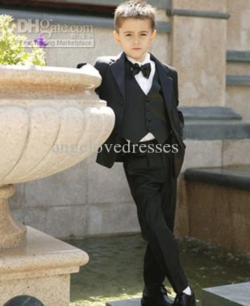Wholesale Black Boys Suits Baby Page Boy Suit Tuxedo Wedding Party Clothes Four Pieces w/ Jacket Vestamp; Bow Tie, Free shipping, $59.66/Piece | DHgate