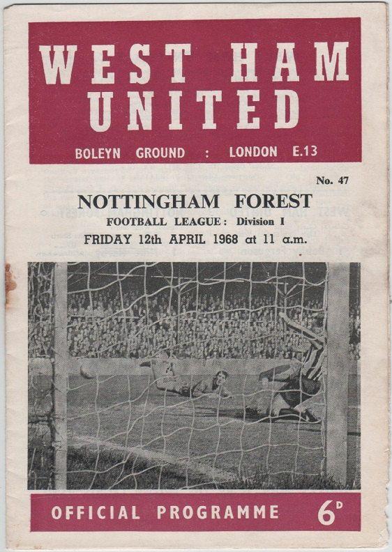 Vintage Football (soccer) Programme - West Ham United v Nottingham Forest, 1967/68 season