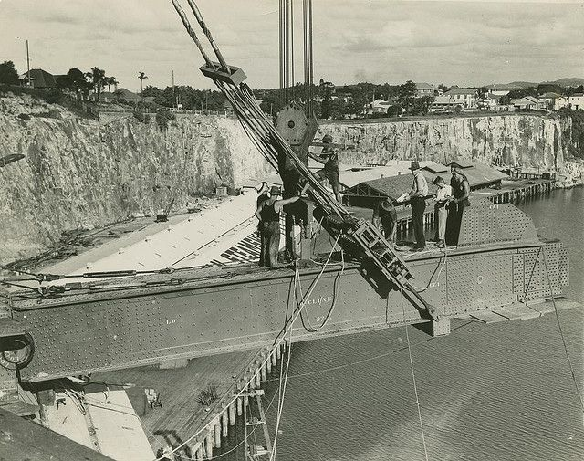 Early stages of the Story Bridge construction, Brisbane, ca. 1937