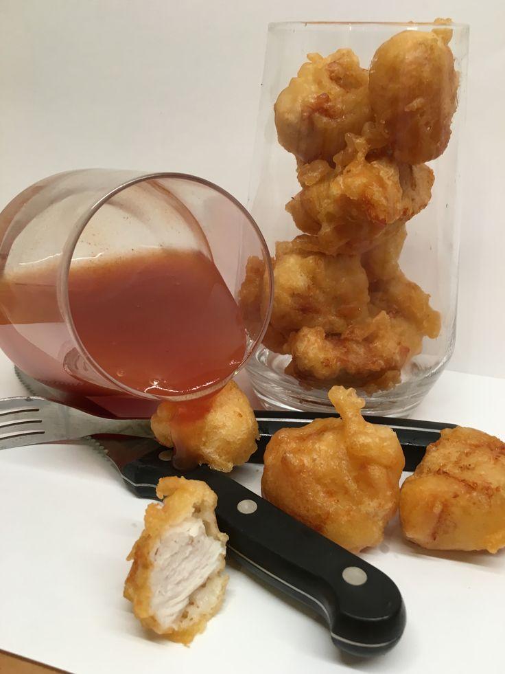 friterad kyckling med sötsursås | allagodating.se | kyckling, kycklingfilé, friterat, fritera, friterad, sötsur sås