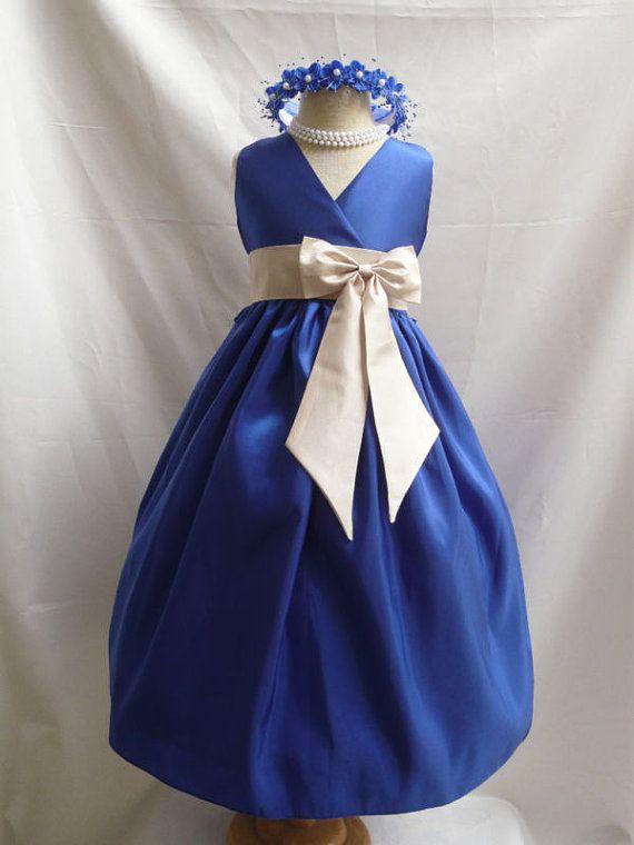Flower Girl Dress BLUE ROYAL w/ Champagne VN for Baby Teen Children Toddler in Wedding Easter Bridesmaid Communion on Etsy, $34.00