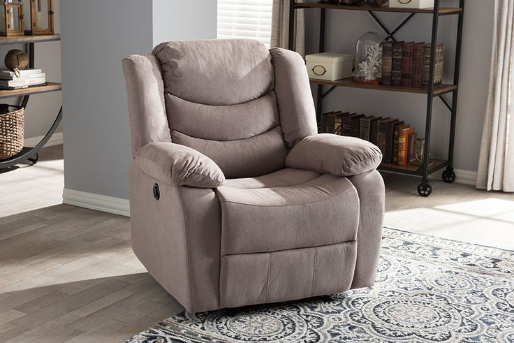 Baxton Studio Lynette Taupe Fabric Power Recliner Chair