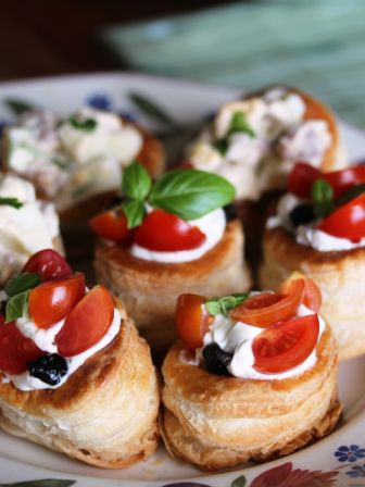 cherry tomato and black olive vol au vents web More