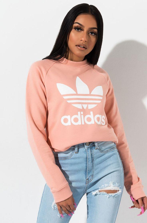 Adidas Trefoil Crew Neck Sweatshirt Champion Hoodie Women Hoodies Womens Women [ 1112 x 736 Pixel ]