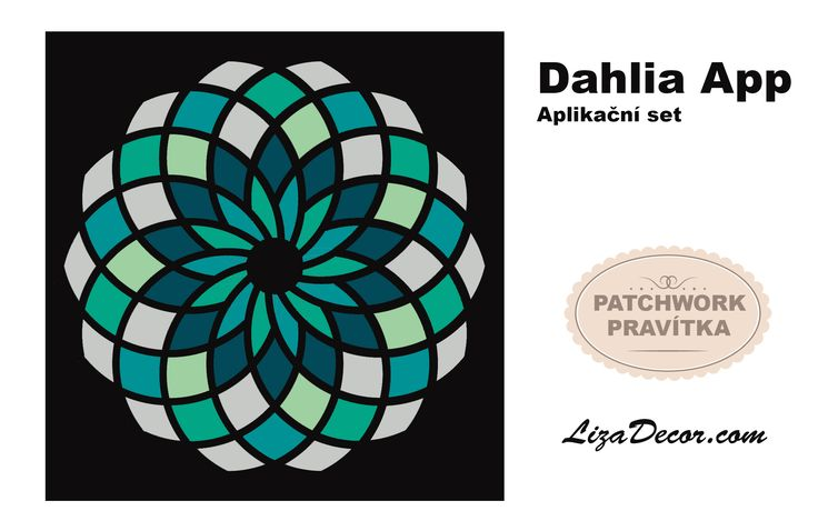 #aplikace #patchwork #vzory #dahlia #lizadecor #šablona