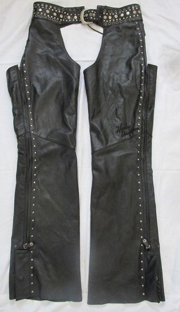 WOMENS COLLECTIBLE HARLEY-DAVIDSON BLACK LEATHER SEXY MOTORCYCLE CHAPS STUDS S