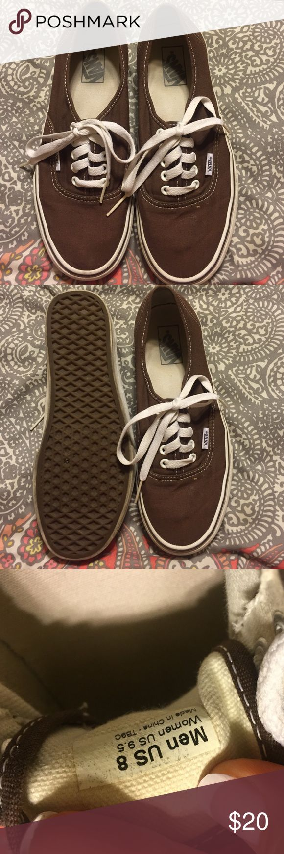 Brown Vans Pair of size 8 Mens or 9.5 Women's brown vans. Good condition. Ready for new owner! Vans Shoes Sneakers