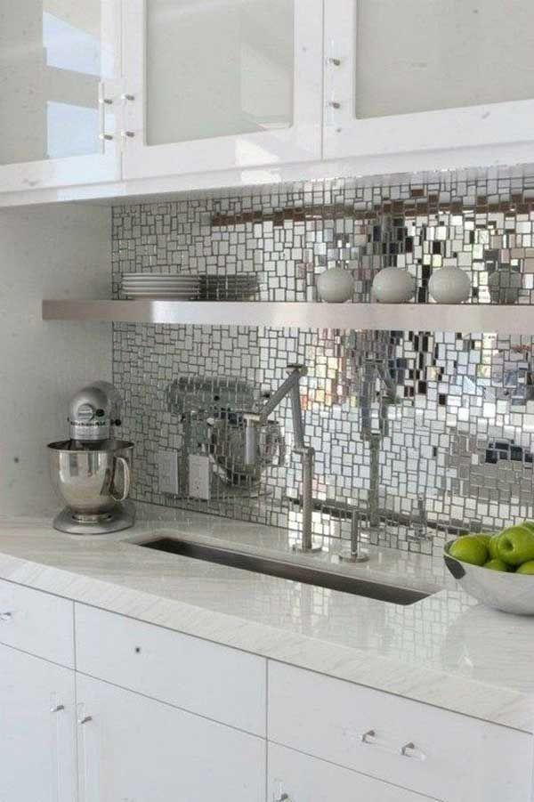 Turn your backsplash into a Disco Ball - 24 Low-Cost DIY Kitchen Backsplash Ideas and Tutorials