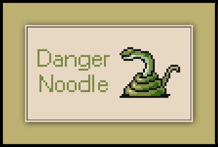 Snake Cross Stitch Pattern Danger Noodle Meme Snek by SpriteStitches on Etsy