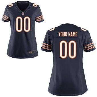 Women's Chicago Bears Nike Navy Blue Custom Game Jersey