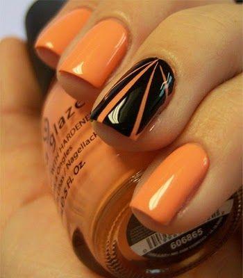 I really like single nail differences: Chloe Nails, Accent Nails, Fall Nails, Nails Design, China Glaze, Black Nails, Nails Polish, Peaches Nails, Halloween Nails