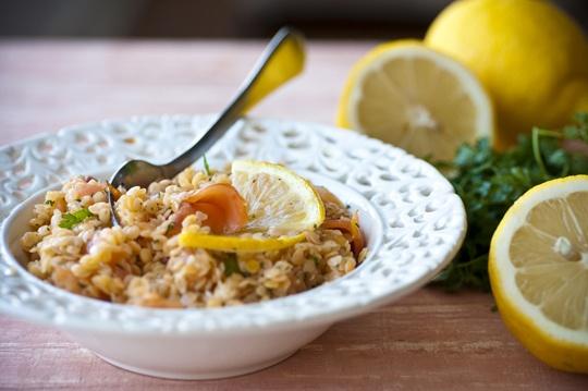salada de lentilhas com salmão defumado