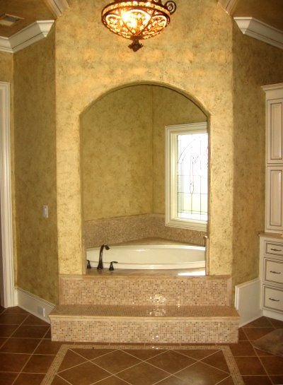 Enclosed Corner Tub With Tile Steps Add Candles And