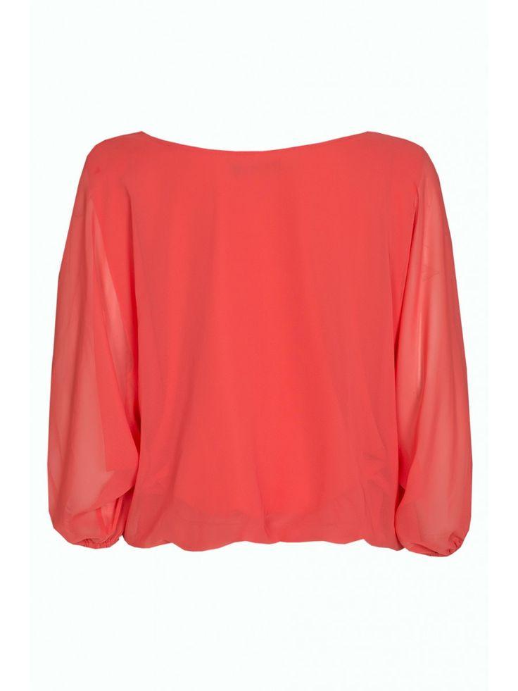 Orange batwing chiffon blouse | Women's shirts | Select
