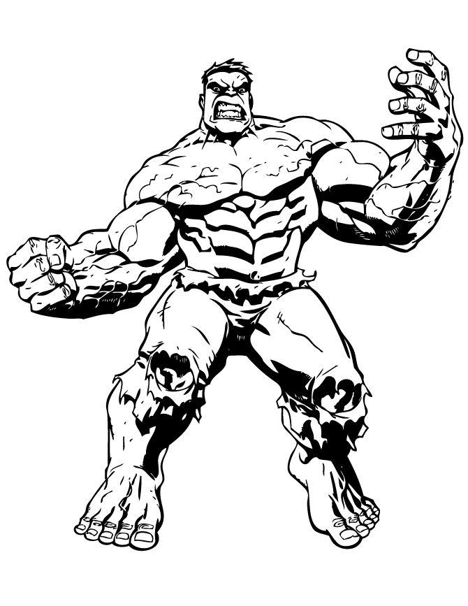 Big Muscle Incredible Hulk Coloring Page | Hulk coloring pages