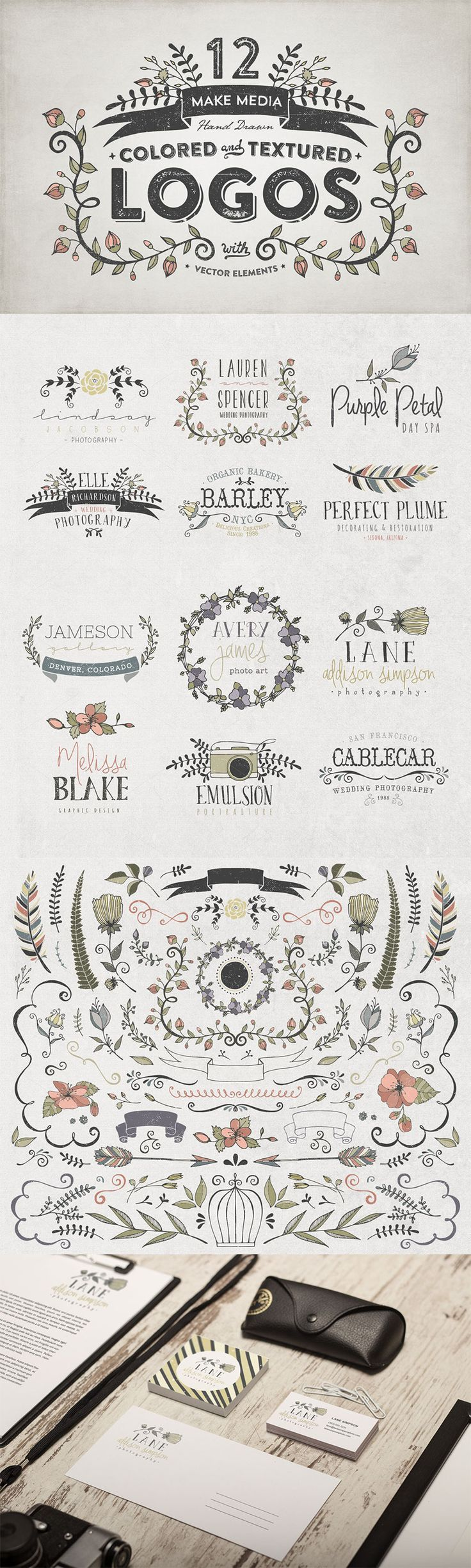 The Hand Drawn Logo Trio (and Bonus Decorative Elements) - Only $19 | MyDesignDeals: