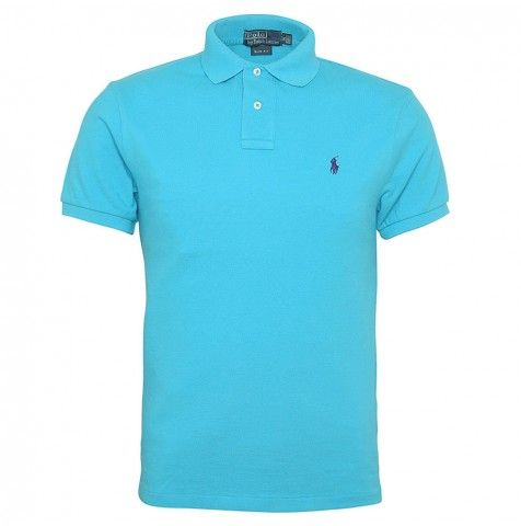 Polo Ralph Lauren Short Sleeve Slim Fit Plain Polo Shirt In Turquoise Now at £56.00