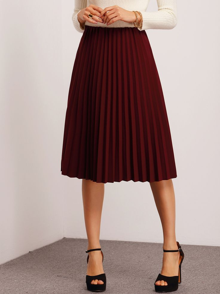 Shop Burgundy Pleated Midi Skirt online. SheIn offers Burgundy Pleated Midi Skirt & more to fit your fashionable needs.