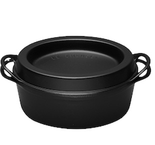 The Doufeu (originally by Cousances since 1553, now Le Creuset since 1957), in 9,2 L and black. The perfect large enameled cast iron cookware for proper slow food.