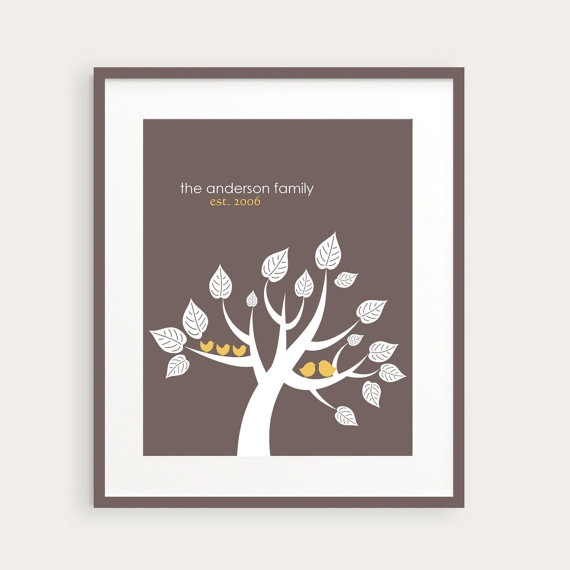 personalized family tree art lovebirds with by. Black Bedroom Furniture Sets. Home Design Ideas